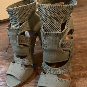 Zara khaki ankle strap heels - 40 / 9.5